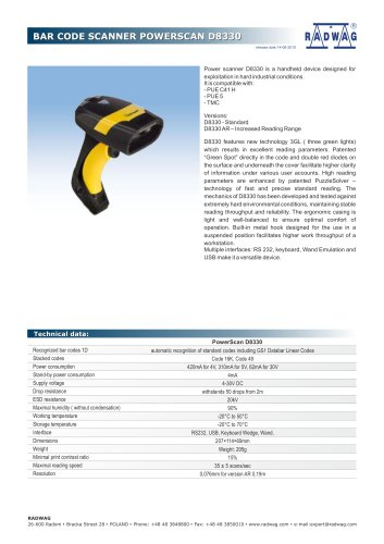 BAR CODE SCANNER POWERSCAN D8330
