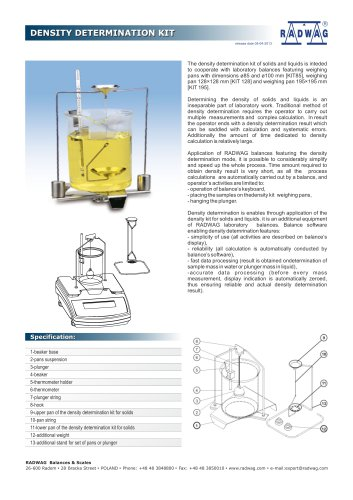 DENSITY DETERMINATION KIT DENSITY DETERMINATION KIT