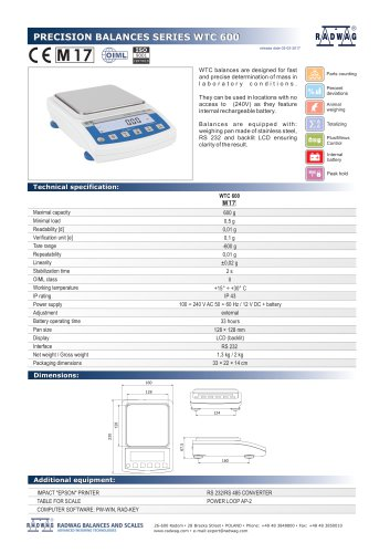 PRECISION BALANCES SERIES WTC 600