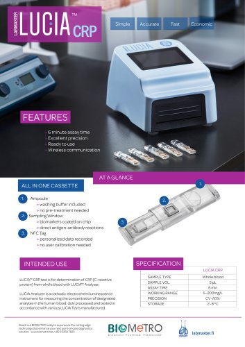Labmaster LUCIA CRP Product Sheet