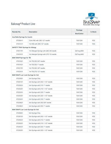 BAKSNAP® PRODUCT LINE