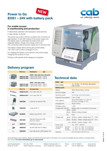 Label printer EOS1 - 24V