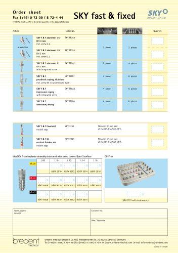 SKY fast & fixed - Order sheet