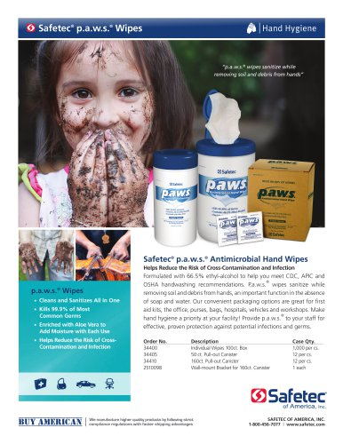 p.a.w.s.® Antimicrobial Hand Wipes